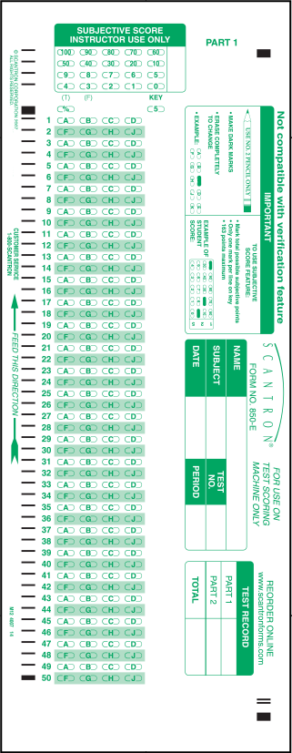 graphic about Printable Scantron Form identify 850-E 100 Surprise Resolution Sheet