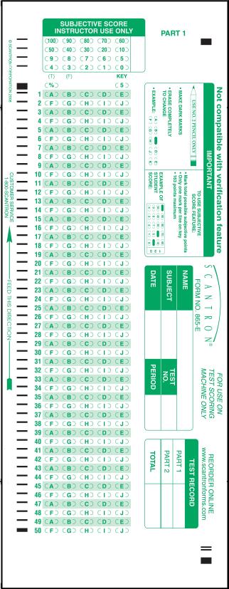 scantron printable 865-E 100 Question Answer Sheet