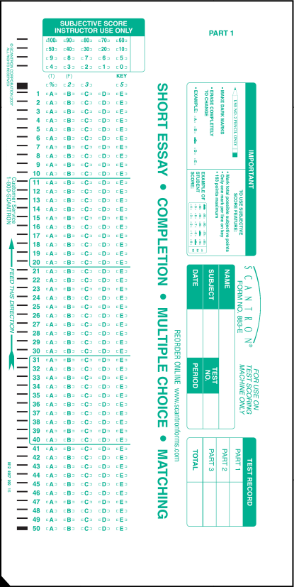 picture relating to Printable Scantron Form titled 883-E 50 Wonder Solution Sheet