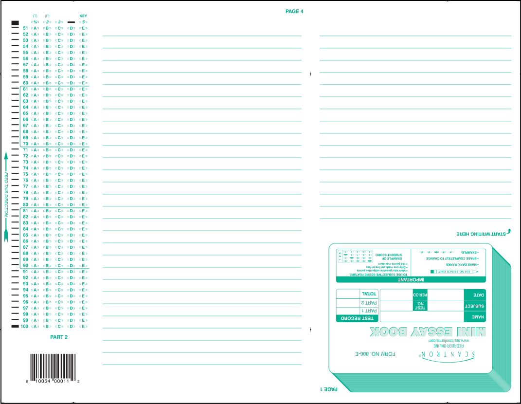 """scantron form #886-e mini-essay book Sample answer sheets form no 95677 form no 94746 form no 95946 steps to scoring scantrons on the scantron machine press the """"perform test scoring"""" button."""