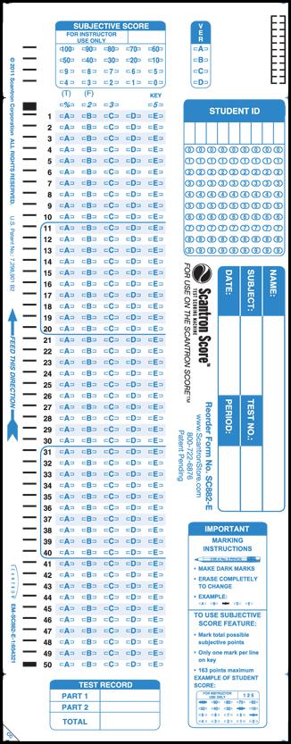 Sc882 E 100 Question Answer Sheet